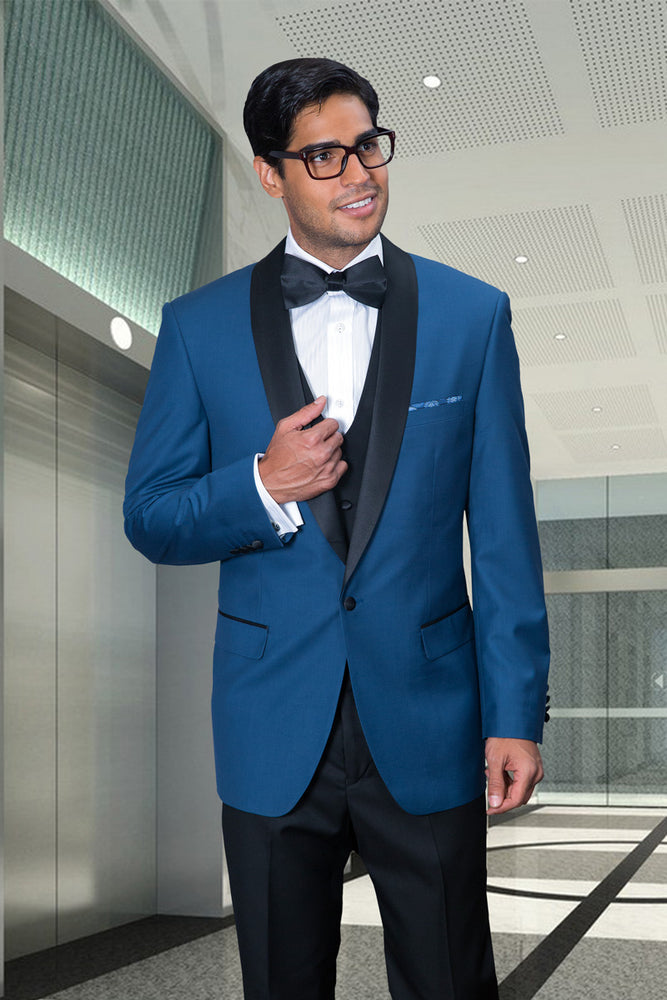 Statement Men's Indigo Tuxedo with Black Lapel