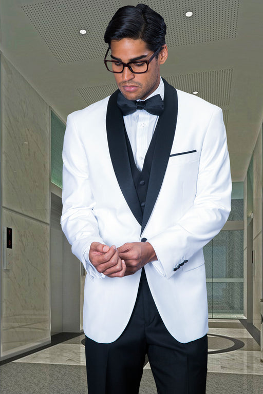 Statement Men's White Tuxedo with Black Lapel