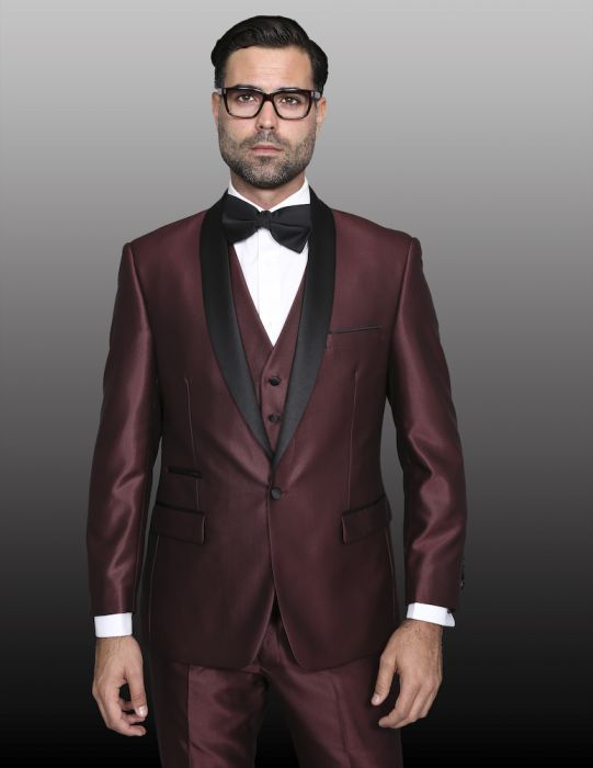 Statement Men's Burgundy Tuxedo with Black Lapel