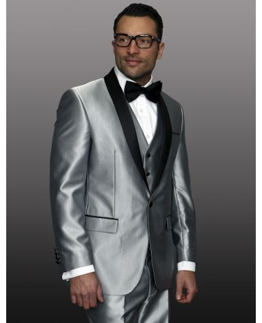 Statement Men's Black & Silver Patterned Tuxedo with Black Satin Lapel