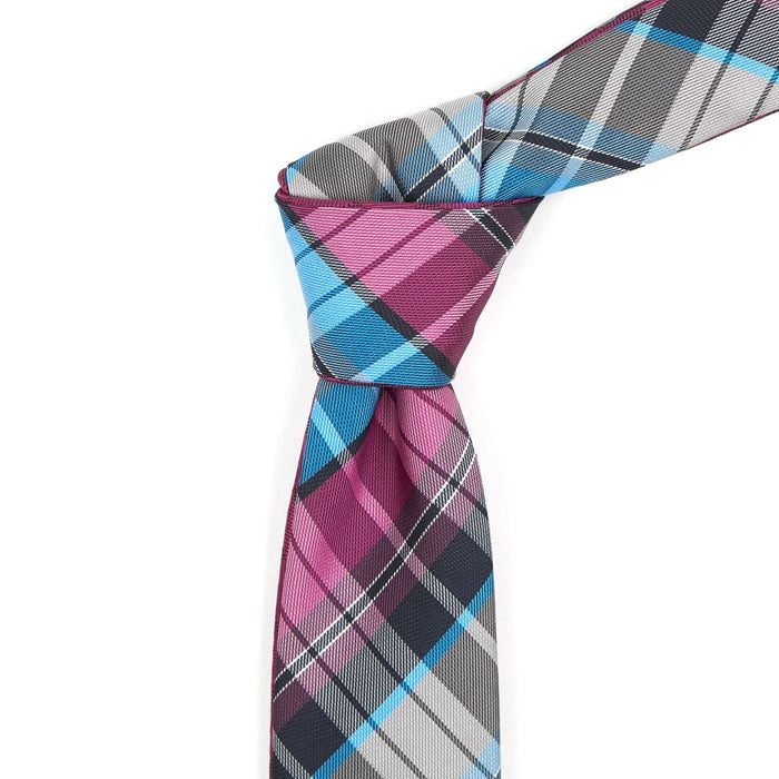 Fushia Multi-Colored Plaid Reversible Tie