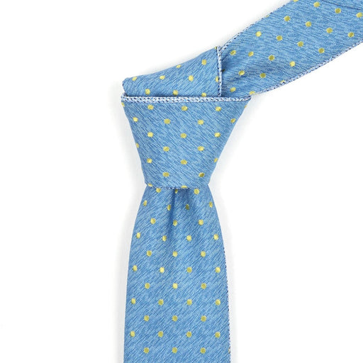 Blue & Dotted Yellow Reversible Tie