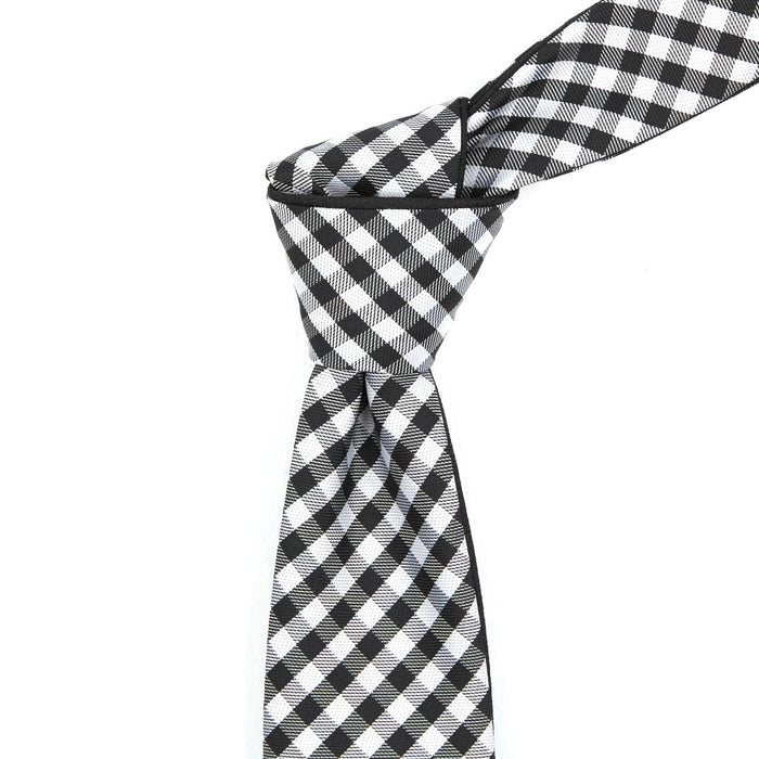Black & White Checkered Reversible Tie