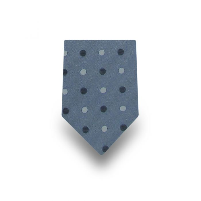 Men's Light Blue with Black & Grey Polka Dotted 100% Silk Tie