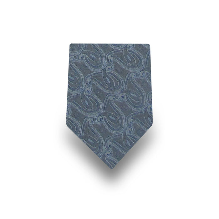 Men's Grey and Blue Patterned 100% Silk Tie