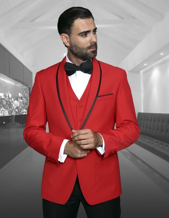 Statement Men's Red Tuxedo with Fine Black Lapel