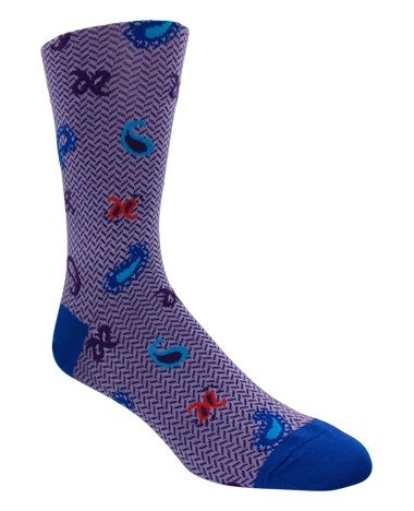 Men's Purple & Navy Waved Patterned Socks