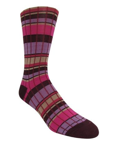 Men's Burgundy & Purple Plaid Socks