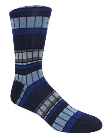 Men's Navy & Powder Blue Plaid Socks