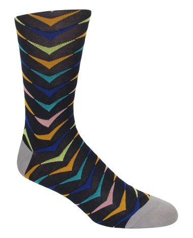 Men's Navy Multi-Colored Arrow Patterned Socks