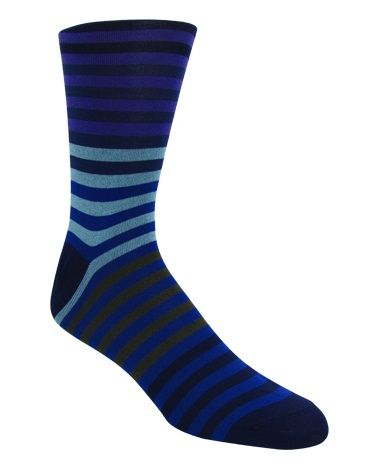 Men's Navy & Powder Blue Striped Socks