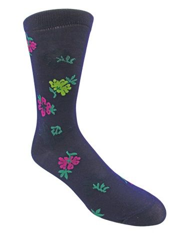 Men's Black Multi-Colored Floral Patterned Socks