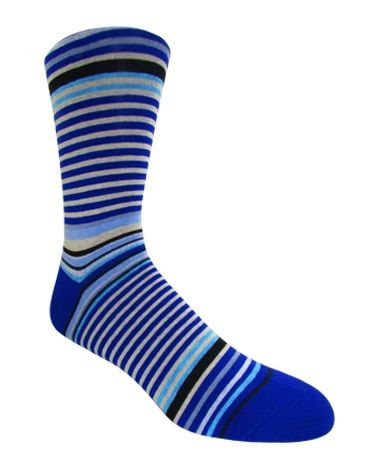 Men's Royal Blue Multi-Colored Striped Socks
