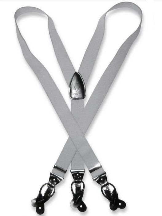 Men's Grey Suspenders | Elastic Button and Clip Convertable