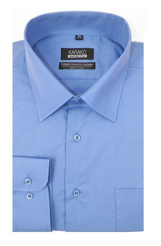 Karako Men French Blue Modern Fit Dress Shirt