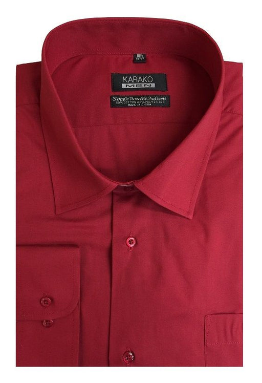 Karako Men Red Modern Fit Dress Shirt