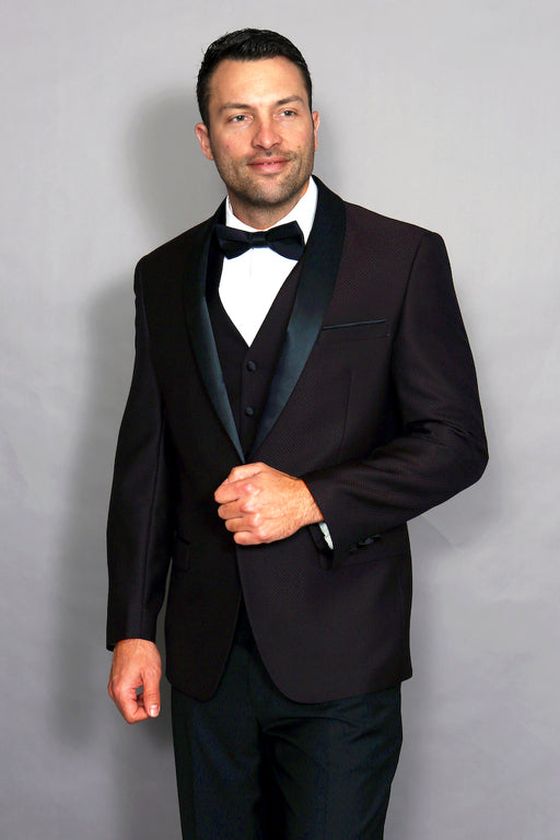 Statement Men's Plum Tuxedo with Black Lapel