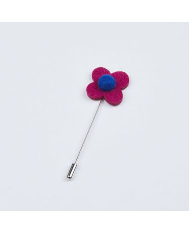 Berry and Blue Flower Lapel Pin