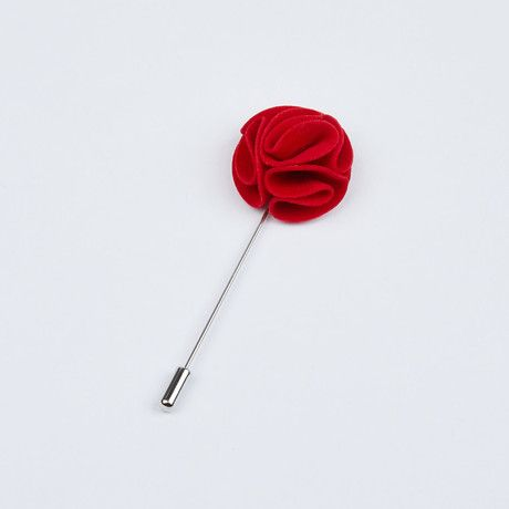 Ruby Red Waved Lapel Pin
