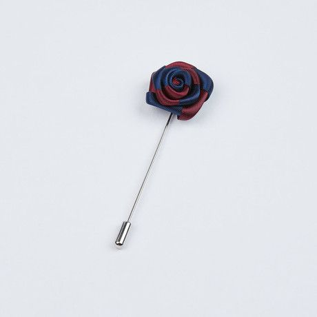 Navy and Ruby Red Two-Tone Striped Lapel Pin