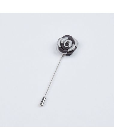 Silver and Black Two-Tone Striped Lapel Pin