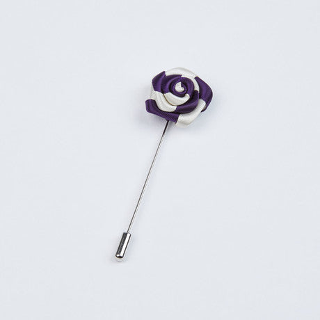 Purple and White Two-Tone Striped Lapel Pin