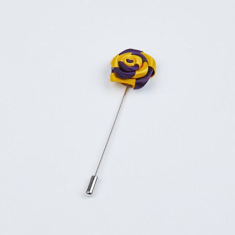 Yellow and Purple Two-Tone Striped Lapel Pin