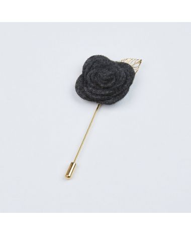 Dusty Charcoal with Gold Leaf Lapel Pin