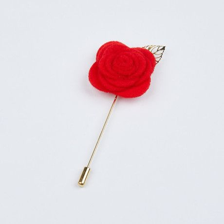 Bright Red with Gold Leaf Lapel Pin