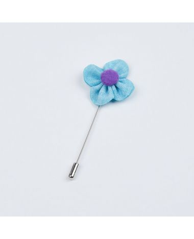 Powder Blue and Purple Flower Lapel Pin