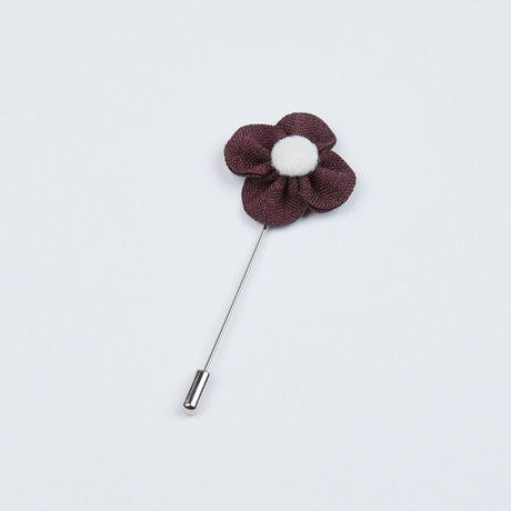 Midnight Purple and White Flower Lapel Pin