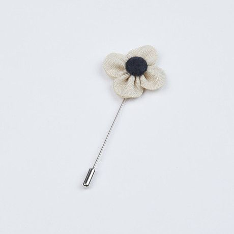 Ivory and Black Flower Lapel Pin