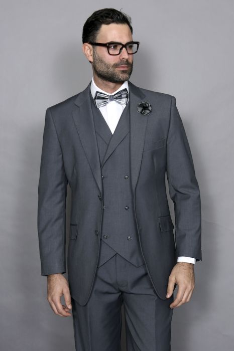 Statement Men's Charcoal 100% Wool Vested Suit