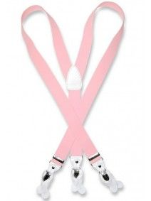 Men's Pink Suspenders | Elastic Button and Clip Convertable