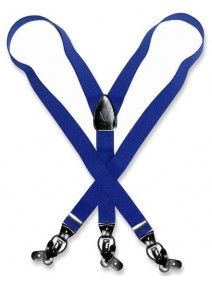 Men's Royal Blue Suspenders Y Shape Back | Elastic Button & Clip Convertible