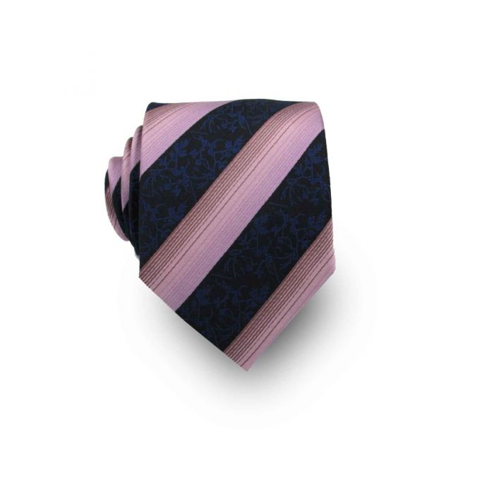 Men's Dark Blue and Pink Paisley Striped 100% Silk Tie