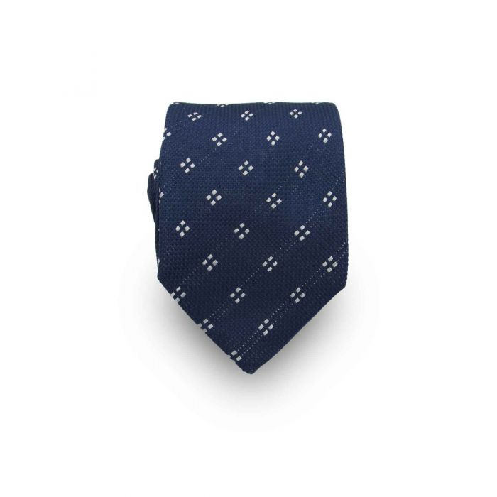 Men's Navy and White Patterned 100% Silk Tie