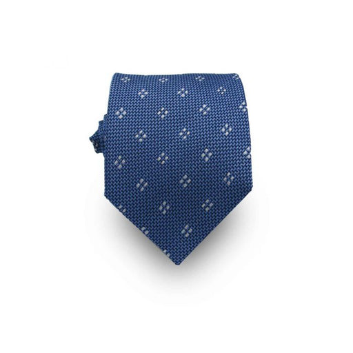 Men's Royal Blue and White Patterned 100% Silk Tie