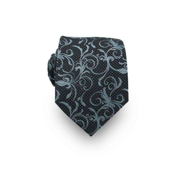 Men's Black & Teal Paisley 100% Silk Tie