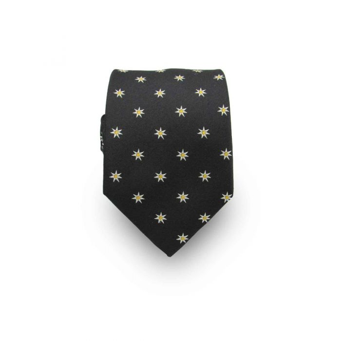 Men's Onyx Black with Yellow Stars 100% Silk Tie