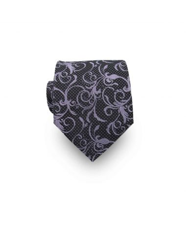 Men's Black & Lavender Paisley 100% Silk Tie
