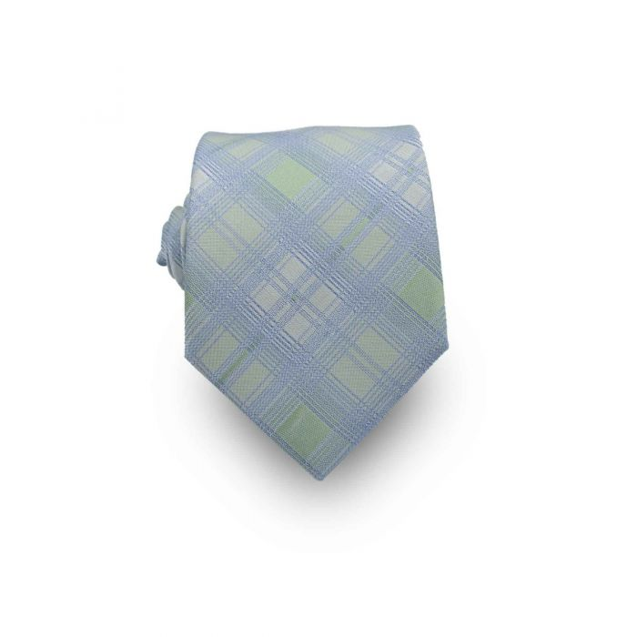 Men's Light Blue & Muted Green Plaid 100% Silk Tie