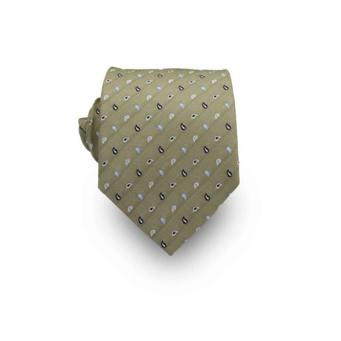 Men's Olive Green, Light & Dark Blue Paisley Patterned 100% Silk Tie