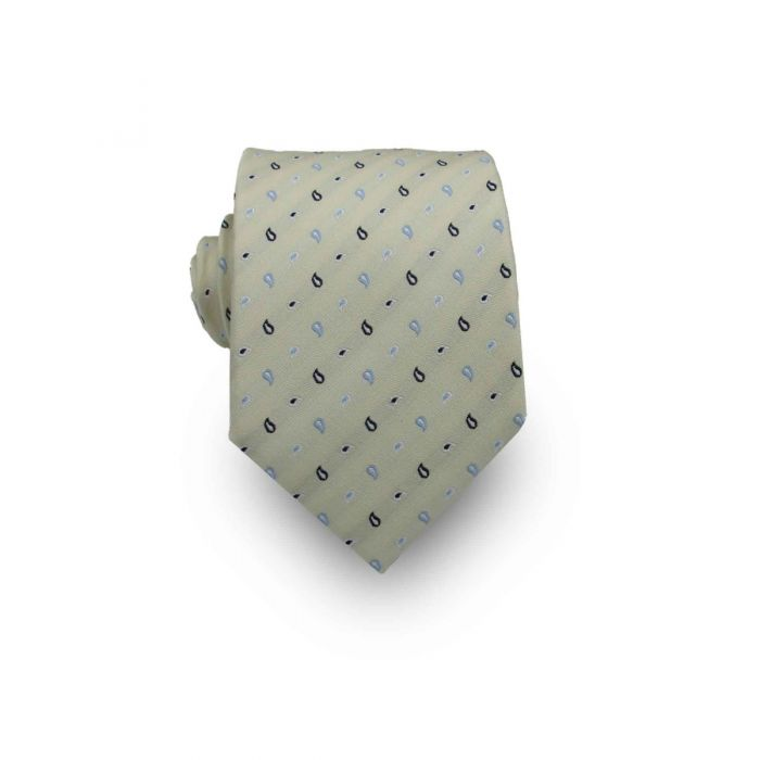 Men's Light Mint Green Paisley Patterned 100% Silk Tie