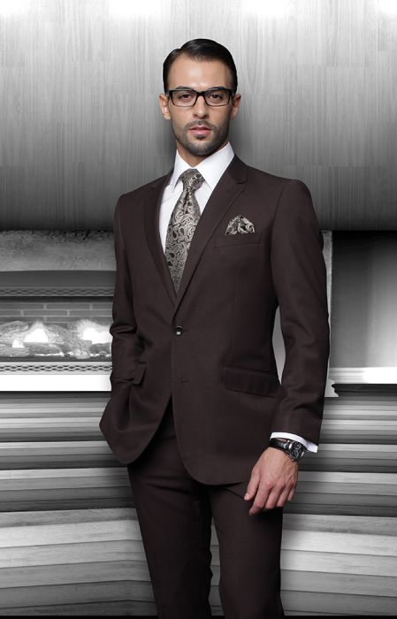 Statement Men's Brown 100% Wool Suit