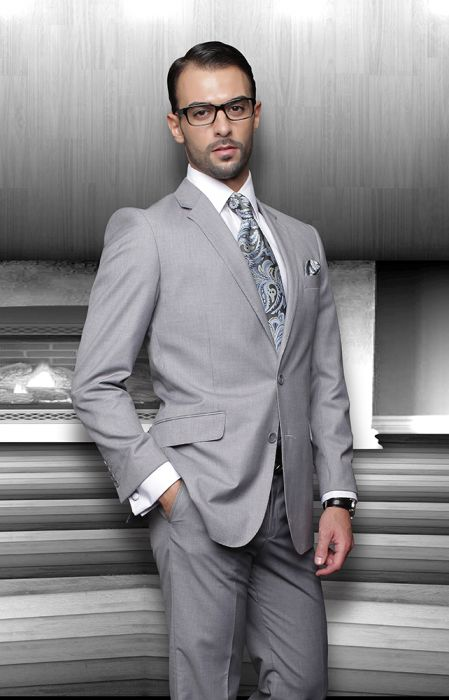 Statement Men's Grey 100% Wool Suit