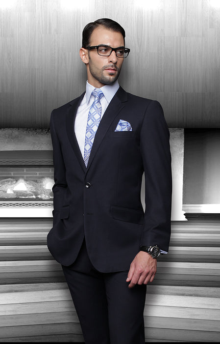 Statement Men's Navy 100% Wool Suit