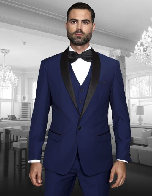 Statement Men's Blue Tuxedo with Black Lapel
