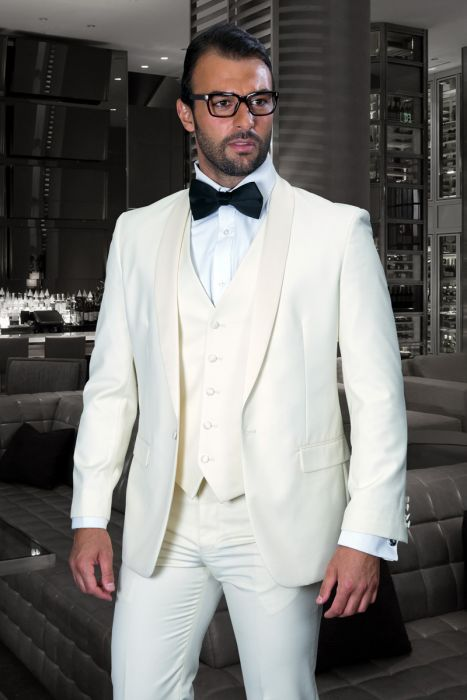 Statement Men's Cream Tuxedo with Cream Lapel