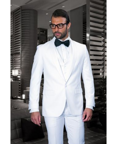 Statement Men's White Tuxedo with White Lapel